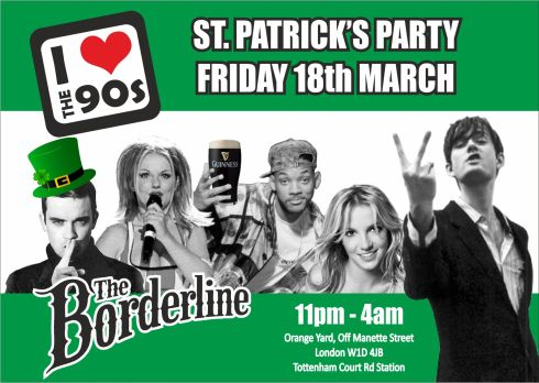 Ilovethe90s_BORDERLINE_STPATRICKS flyer_front