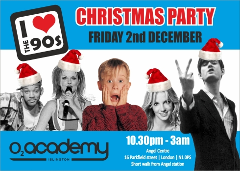 ilovethe90s_o2academy_flyer_christmas_front