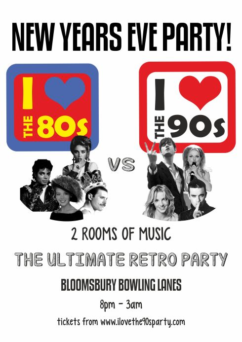 80vs90s_bloomsbury lanes_NYE_A3 POSTER